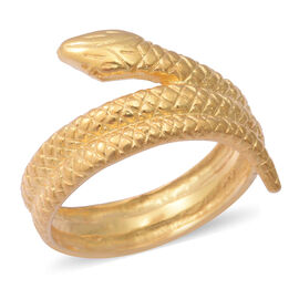 Yellow Gold Overlay Sterling Silver Snake Ring