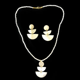 2 Piece Set -  White Shell Pearl Pendant with Necklace (Size 22) and Earrings (With Push Back) in Ye