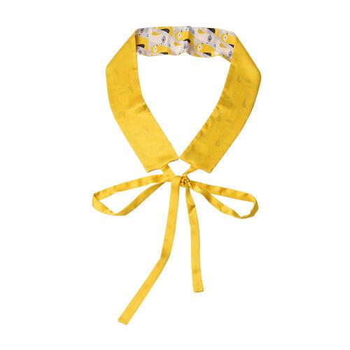 Bird Pattern 100% Mulberry Silk Satin Belt (Size 260 Cm) - Yellow