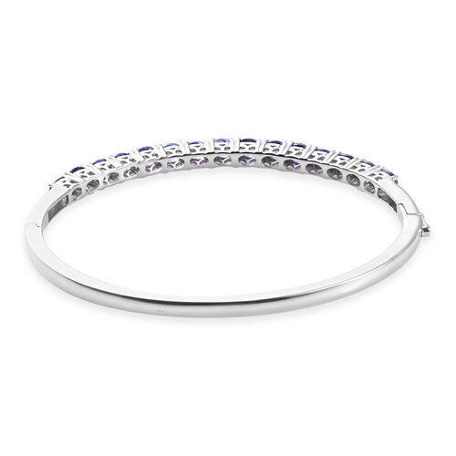 AA Tanzanite Bangle (Size 7.5) in Platinum Overlay Sterling Silver 4.25 Ct, Silver wt 14.50 Gms