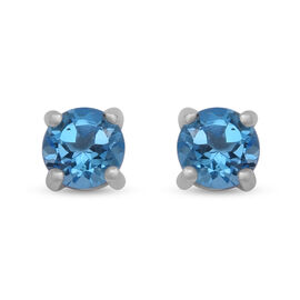 One Time Mega Deal- AAA Swiss Blue Topaz Stud Earrings (with Push Back) in Sterling Silver