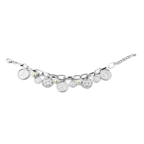 Designer Inspired - Simulated White Pearl Charm Bracelet (Size 9 with Extender) in Silver Tone