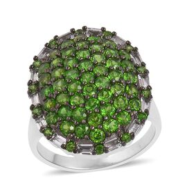 Designer Inspired- Russian Diopside and Natural White Cambodian Zircon Cluster Ring in Black Rhodium