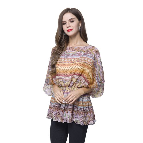 Yellow, Red, Grey and Multi Colour Bohemian Pattern Poncho (Free Size)