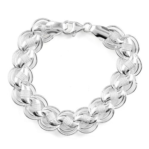 Sterling Silver Fancy Textured Braid-Style Bracelet (Size 6.5), Silver Wt. 15.41 Gms