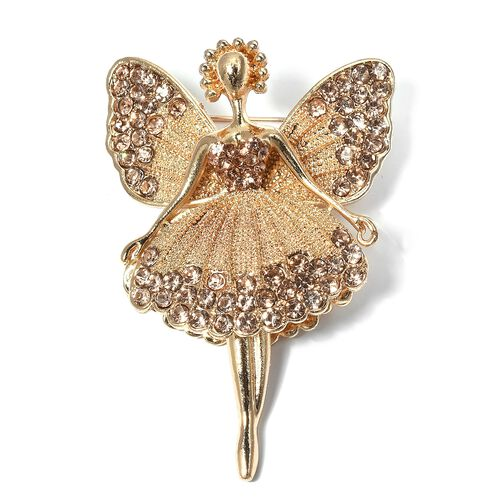 Austrian Champagne Color Crystal (Rnd) Angel Brooch in Gold Plated.