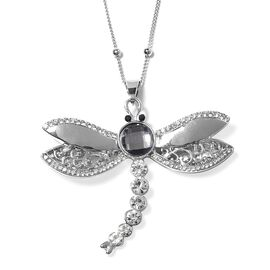 Grey and White Crystal Dragonfly Pendant with Chain IN Silver Tone
