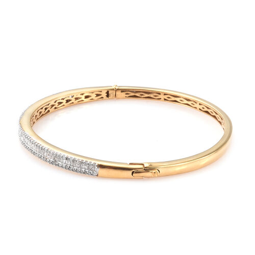 Limited Edition- Designer Inspired - Diamond (Rnd and Bgt) Bangle (Size 7.5) in 14K Gold Overlay Sterling Silver 1.500 Ct, Silver wt 15.43 Gms, Number of Diamond 216