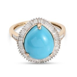 Monster Deal- 9K Yellow Gold Arizona Sleeping Beauty Turquoise and Diamond Ring 4.310 Ct