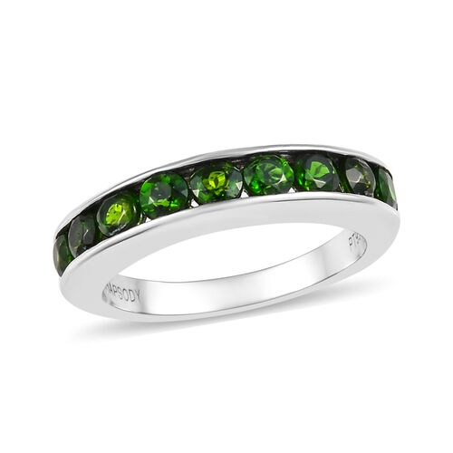 RHAPSODY 1.15 Ct AAAA Russian Diopside Half Eternity Band Ring in 950 Platinum 5 Grams
