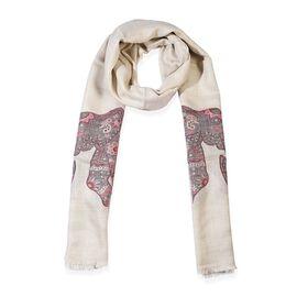 100% Cashmere Wool Elephant Pattern Scarf (Size 70x200 Cm) - Beige