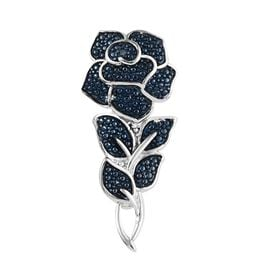 Blue Diamond Eternal Rose Floral Brooch in Platinum Plated Sterling Silver 4 Grams