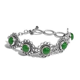 12.74 Ct Green Jade Adjustable Bracelet in Sterling Silver 13.45 Grams 6.5 to 7.5 Inch