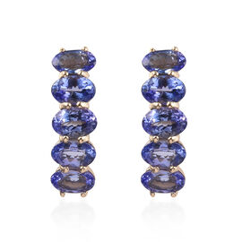 9K Yellow Gold AA Tanzanite (Ovl) Stud Earrings (with Push Back) 5.00 Ct.