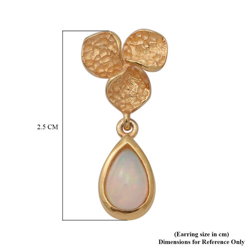 Ethiopian Welo Opal Floral Drop Earrings (with Push Back) in Yellow Gold Overlay Sterling Silver 1.10 Ct.