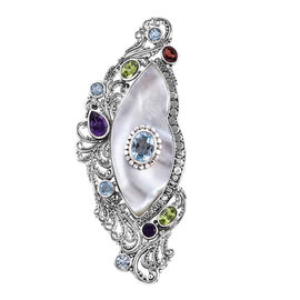 Royal Bali Mother of Pearl and Multi Gemstone Brooch in Sterling Silver 11 Grams