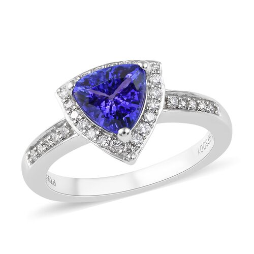 RHAPSODY 1.50 Ct AAAA Tanzanite and Diamond Halo Ring in 950 Platinum 5.20 Grams VS EF