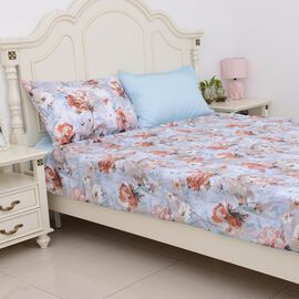 4 Piece Set - Blue Colour Floral Pattern Single Duvet Cover (Size 135x200 Cm), Fitted Sheet (Size 19