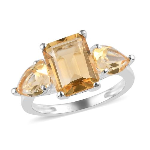 2.80 Ct Citrine Trilogy Ring in Sterling Silver