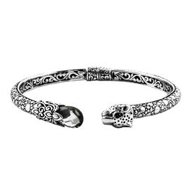 Super Auction - Royal Bali Collection Green Amethyst Leopard Head Bangle (Size 7.25) in Sterling Sil