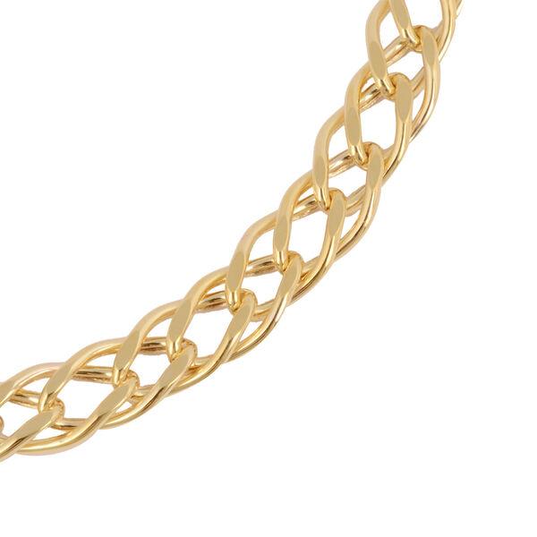Italian Made- 9K Yellow Gold Fancy Curb Bracelet (Size 7.5),