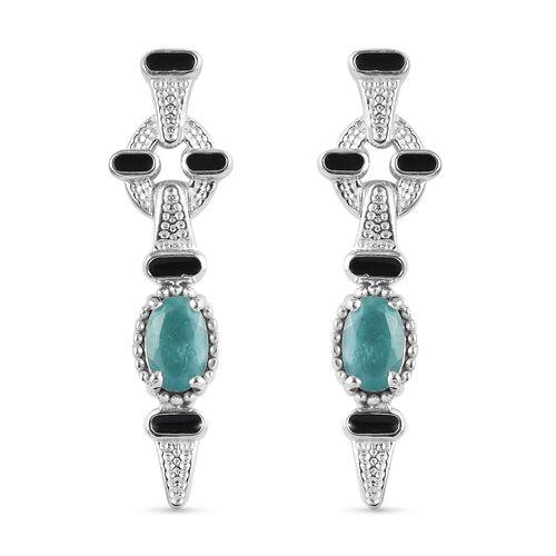 Grandidierite Dangle Enamelled Earrings (with Push Back) in Platinum Overlay Sterling Silver