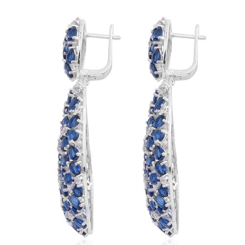Red Carpet Collection- ELANZA AAA Simulated Blue Sapphire (Ovl), Simulated White Diamond Floral Earrings in Rhodium Plated Sterling Silver,  Number of Stone 169 Silver wt 22.20 Gms.