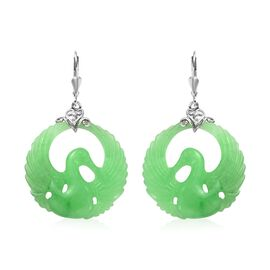 53 Ct Green Jade Drop Earrings in Platinum Plated Silver with Lever Back