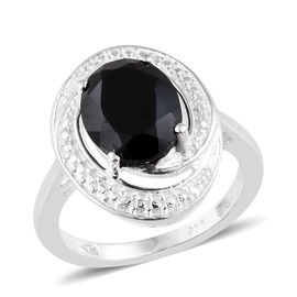 Boi Ploi Black Spinel (Ovl), Diamond Ring in Sterling Silver 3.004 Ct.