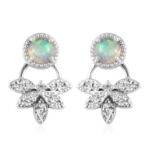 Ethiopian Welo Opal Earrings (with Push Back) in Platinum Overlay Sterling Silver 1.06 Ct.