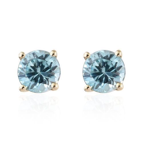Blue Zircon (1.45 Ct) 9K Y Gold Earrings (with Push Back) 1.450 Ct