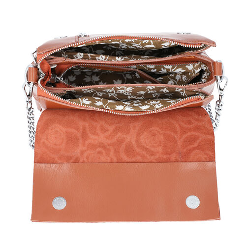 100% Genuine Leather Multiple Pocket Rose Pattern Flap Bag with Detachable Shoulder Strap (Size 25x9x18 Cm) - Tan