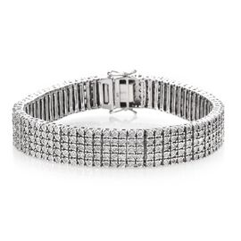 1.50 Ct Diamond Tennis Bracelet in Platinum Plated Silver 30 grams 7.5 Inch