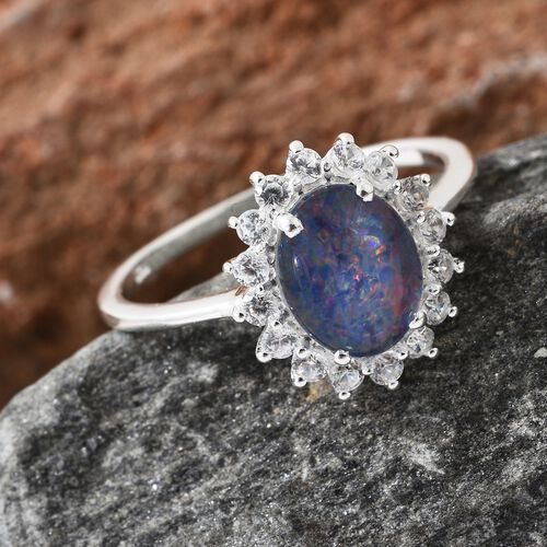 Australian Boulder Opal (Ovl), Natural Cambodian Zircon Ring in Sterling Silver