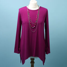 Pure and Natural Soft Long Sleeve Top with Matching 30 Inch Necklace in Magenta (Length:66cm)
