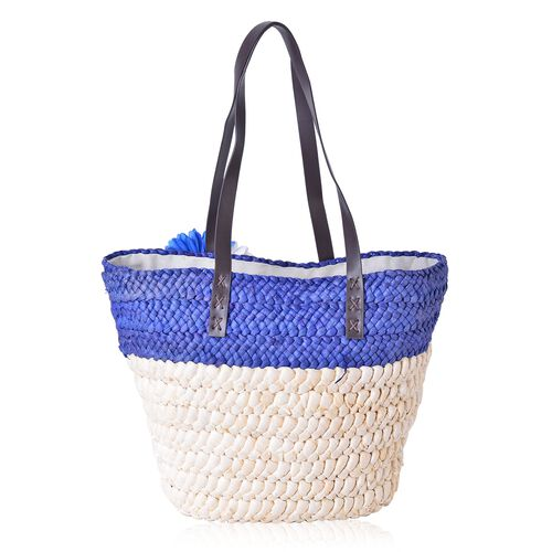 Bali Collection Ocean Blue Straw Woven Large Tote Bag (Size 41.5x30.5x25.5x13.5 Cm)