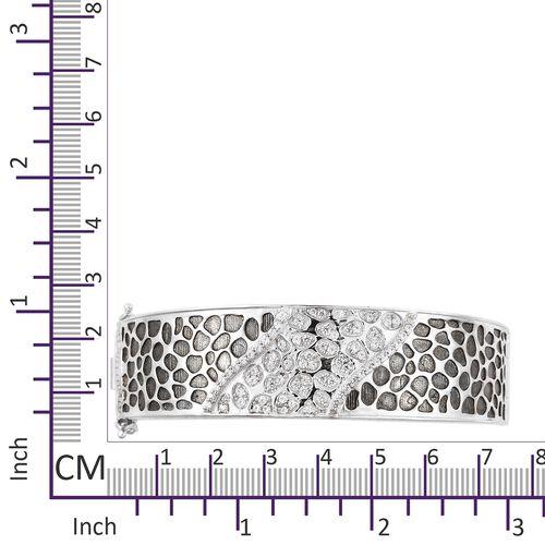 Signature Collection-J Francis - Platinum Overlay Sterling Silver (Rnd) Swarovski Zirconia Bangle (Size 7.5), Silver wt 50.22 Gms.