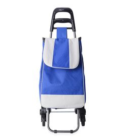 Navy Blue with Beige Colour Trolly Bag with Iron shelf and Three  wheels on each side (Size 95x38x51.5cm)