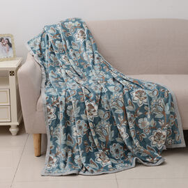 Luxury 100% Microfiber Flannel Printed Blanket with Chintz Pattern in Teal and Multi Colour (Size 200x150 Cm)