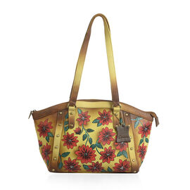 SUKRITI - 100% Genuine Leather Brown Colour Hand Painted Floral Pattern Tote Bag (Size 40.64x24.76x9