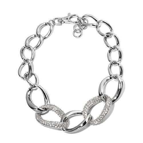 White Austrian Crystal (Rnd) Necklace (Size 21 with 2 inch Extender) in Silver Plated