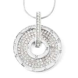 White Austrian Crystal Circle Pendant with Chain in Silver Tone
