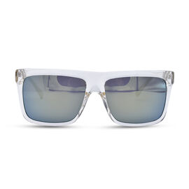 square clear plastic sunglasses with green mirror lenses