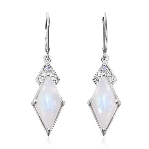 Sri Lankan Rainbow Moonstone and Tanzanite Lever Back Earrings in Platinum Overlay Sterling Silver 1