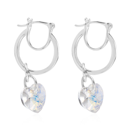 J Francis Crystal from Swarovski AB Crystal Heart Drop Hoop Earrings (with Clasp) in Sterling Silver