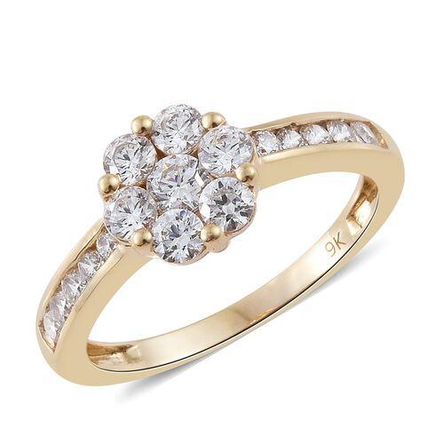J Francis - 9K Yellow Gold (Rnd) Floral Ring Made with SWAROVSKI ZIRCONIA