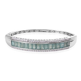 11.25 Ct Grandidierite and Zircon Baguette Cut Bangle in Platinum Plated Silver 25 Grams 7.5 Inch