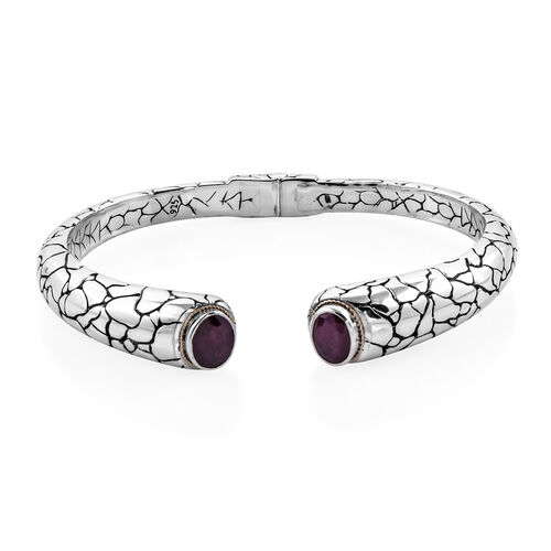 Royal Bali 7.24 Ct African Ruby Cuff Bangle in 18K Gold and Sterling Silver 40 Grams 8 Inch
