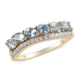 9K Yellow Gold AA Espirito Santo Aquamarine (Ovl), Natural Cambodian Zircon Ring 1.05 Ct.