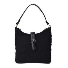 Faux Fur Shoulder Bag (26x24x5cm) with Clasp Closure - Black